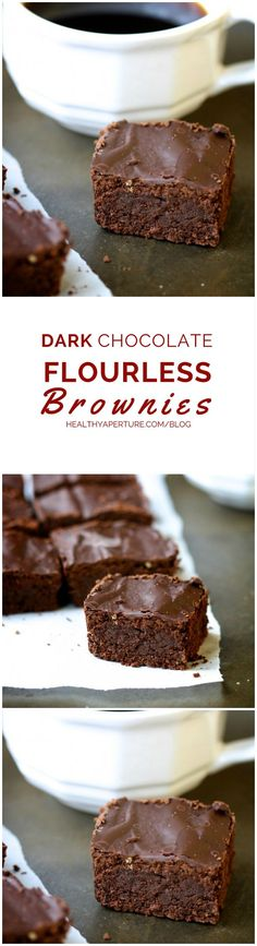 Enjoy a dark, rich brownie without the guilt! These dark chocolate flourless brownies are gluten free and easily made sugar free #delicious #recipe #cake #desserts #dessertrecipes #yummy #delicious #food #sweet