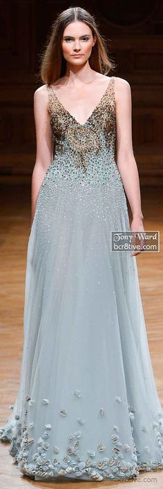 Stardust beaded gown with floral appliques