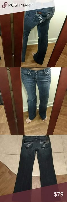 7 for all mankind dojos!! Great pair of dojos with just minimal wear. Size 29 but these fit like a 28 with the waist measured flat at 16 inches so I marked these as 28s. Inseam was hemmed to 30.5 inches. Rise is 7 inches.98% cotton 2% elastane. 7 For All Mankind Jeans Flare & Wide Leg