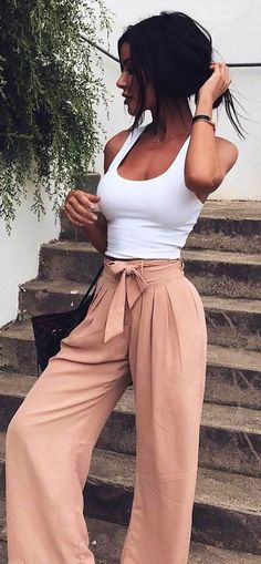 This Crop Top, Wide Leg Pants! Can't Beat The White And Beige Combination!