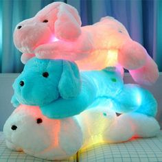 New Year 50CM Length Creative Night Light LED Lovely Dog Stuffed and Plush Toys Best Gifts for Kids and Friends YZT0145B