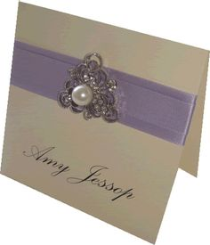 Pearl vintage wedding place card in lilac purple