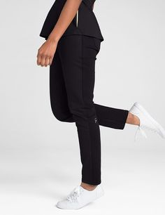 f8ee3023c3c The Contrast Ponte Pant in Black is a contemporary addition to women's medical  scrub outfits.