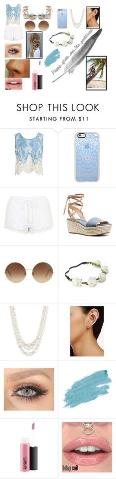 """""""Denim & lace"""" by xcharlottedobesonx ❤ liked on Polyvore featuring Sans Souci, Casetify, Topshop, MICHAEL Michael Kors, Victoria Beckham, Candie's, Anne Klein, Jules Smith, Jane Iredale and MAC Cosmetics"""
