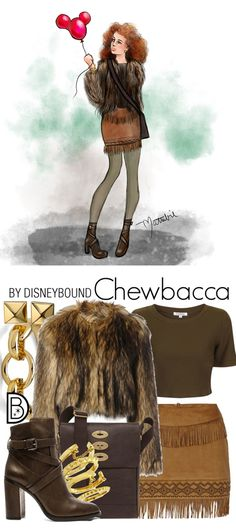 These Star Wars DisneyBound Sketches Are Out of This World - Ideas of Star Wars Outfits - DisneyBound's take on Star Wars style inspired by everyone's favorite Wookie Chewbacca! Artist Matthew Simpson designed a sketch of the outfit. Disney Themed Outfits, Disney Bound Outfits, Disney Dresses, Disney Style, Disney Love, Disney Inspired Fashion, Disney Fashion, Estilo Disney, Star Wars Outfits