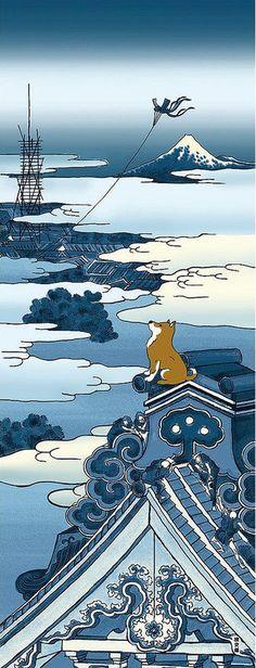 Japanese Tenugui Towel Cotton Fabric, Shiba Inu Dog, Ukiyoe Style, Mt.Fuji, Hongan-ji Temple, Hand Dyed Fabric, Modern Art Fabric, JapanLovelyCrafts