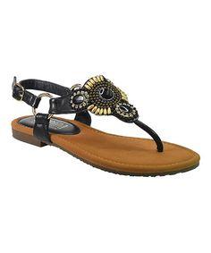 4aed79765fa575 Black Natalie T-Strap Sandal - Women T Strap Sandals