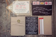 I love this invitation suite with kraft envelope and pocketfold and wax seal with baker's twine