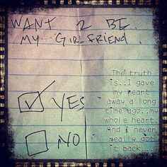 Will you be my girlfriend note