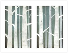 BIRCHES Diptych Giclee PRINT 17x22 Signed Graphic Art Illustration by Native Vermont Studio