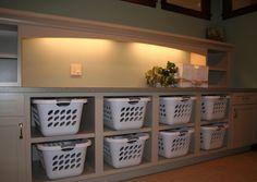 Laundry room, basket shelves (one basket for each family member)
