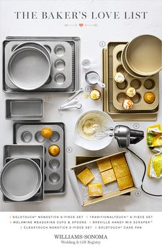 Cakes aren't just for the big day: Sweeten your lives together with a wedding registry of baking essentials that are made to last, like a copper KitchenAid mixer, a classic cakestand, and Goldtouch bakeware available only at Williams-Sonoma.