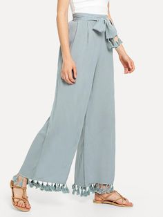 SheIn offers Tassel Trim Tie Waist Palazzo Pants & more to fit your fashionable needs. Kurti Neck Designs, Blouse Designs, Moda Junior, Plazzo Pants, Salwar Pattern, Baby Girl Dress Patterns, Sleeves Designs For Dresses, Pantalon Large, Stylish Dress Designs
