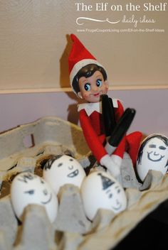 Easy Elf on the Shelf Ideas | Elf Decorates the Eggs - such an easy idea. Hundred of ideas and free printables on Frugal Coupon Living.