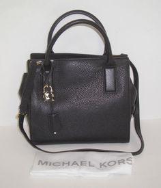 NWT MICHAEL KORS MCKENNA $328 MEDIUM BLACK LEATHER SATCHEL #MichaelKors #Satchel
