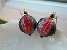 Venetian Murano Blown Glass Sculpted Earrings by leeski on Etsy, $59.00