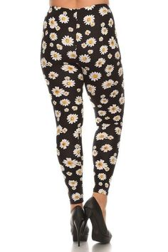 Women's plus size high rise full length stretchable leggings in mixed color Vivid Daisy Couture Pattern print gives you a great look, good to match with Solid top. Made of 92% Polyester, 8% Spandex. ED Leggings Plus Size: Plus One Size fits Women's size 14 ~ 20 generally. Waist: 27 inches, elastic band can stretch up to 38 inches. Length: 37 inches, Inseam: 27 inches. Banded High Waist.High Quality Soft Leggings.Great Stretch.Comfortable & Soft.Hand wash cold, hang dry and do ...