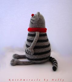 This is a PDF knitting pattern toy - NOT the finished knitted cat in the photos! DIY stuffed cat toy. ********************************************************************************** Please meet Pablo, the Serious Cat! Pablo is a serious guy. He is a banker counting his and his investors' money all day long. He is very good at it – just look at his paws! He can even multiply 3 digit numbers in his mind!!! He is also very good at budgeting and investing. When he is doubtful of a serious…