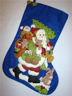 """This hand~crafted 21"""" Christmas Stocking called """"WOODLAND SANTA"""" is made of felt applique on cloth and beautifully decorated with hand sewn sequins and beads.  There is room at the top for you to have a special name embroidered.  Heirloom Quality!!!!   Approx. 21"""" diagonally, so lots of room to stuff."""
