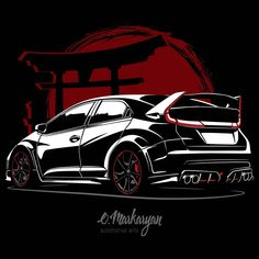"New Releases! Monochrome design Honda Civic Type R"". Scroll right. T-shirts, covers, stickers, posters - already available in my store on Link in bio. I accept orders for automotive arts. 2015 Honda Civic, Honda Civic Coupe, Honda Civic Hatchback, Honda Sports Car, Cool Car Drawings, Honda Civic Type R, Car Illustration, Illustrations, Jdm Cars"