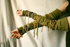 Wrapped Arm Warmers Olive Funky  Wrists Upcycled Woman's by cutrag, $22.02