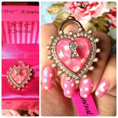 My new Betsey ring! :) Need a love button Neck Accessories, Jewelry Accessories, Betsey Johnson, Boot Jewelry, Jewlery, Girly Things, Girly Stuff, Pink Bling, Fabulous Nails