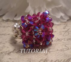 DIY Pillow Top Swarovski Crystal Cocktail Stretch Ring  by NiteDreamerDesigns, www.NiteDreamerDesigns.Etsy.com