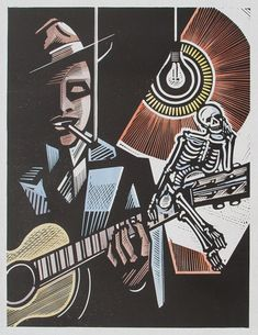 Robert Johnson, v.1 - Relief-block print (hand-colored), The Alcorn Studio & Gallery