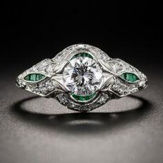.65 Carat Diamond and Emerald Calibre Art Deco Engagement Ring