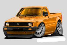 Vw Caddy Mk1, Volkswagen Caddy, Cartoon Drawings, Cartoon Art, Vw Pointer, General Lee, Jaguar F Type, Truck Art, Chip Foose
