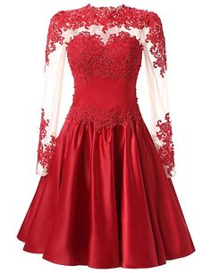 TrendProm A Line Long Sleeves With Applique Homecoming Dresses Size 2 US Red