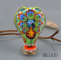 Peacock  Lampwork focal bead by Michou P Anderson by michoudesign, $129.00