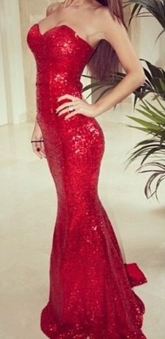Red Sequin Prom Dresses , Sexy Mermaid Prom Dress