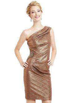 PATRA Waffle Pleat One-Shoulder Dress