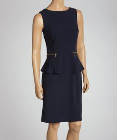 Take a look at this Emma & Michele Navy Peplum Dress on zulily today!