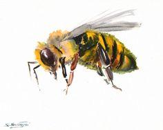 Bee, original watercolor painting, 8 X 10 in, horizontal orientation, honey bee, minimalist art., bee painting