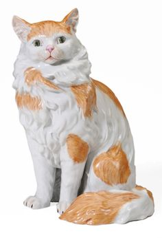 Painted Dresden Porcelain Figure of Persian Cat, 20th century