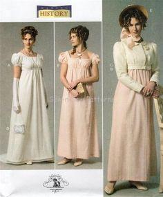 Butterick B6074 SEWING PATTERN 6-14 Regency Dress Jacket Hat Jane Austen Costume