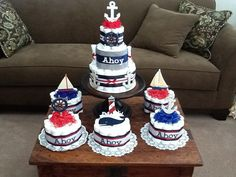 renee only custom Ahoy its a Boy Nautical Sailing Baby Shower Centerpiece Diaper Cakes other colors and sizes too via Etsy