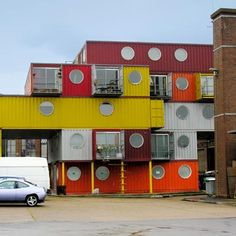 This complex, made of recycled shipping containers, was built in 2001 at Trinity Buoy Wharf as affordable housing and studio space for artists in London, England. | Photo: Jodi Crisp/Flickr | thisoldhouse.com