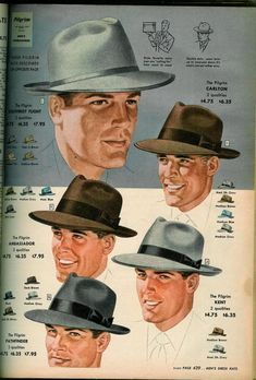 Most people recognize the fedora in their two most popular colors, gray and brow. - Most people recognize the fedora in their two most popular colors, gray and brown. Black hats are f - Mode Masculine Vintage, Americana Vintage, Don Corleone, Vintage Outfits, Vintage Fashion, 1940s Mens Fashion, Retro Vintage, Popular Colors, Gentleman Style