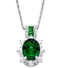 Lab-Created Emerald & White Sapphire Sterling Silver Starburst Pendant... ($115) ❤ liked on Polyvore