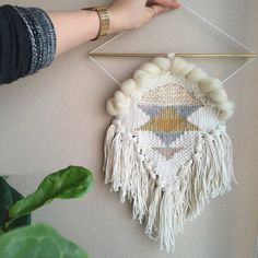 Hand Woven Wall Hanging Decor // Cream Weaving by MelissaJenkinsDsgns on etsy: Tapestry Weaving, Loom Weaving, Wall Tapestry, Hand Weaving, Weaving Wall Hanging, Wall Hangings, Weaving Projects, Fiber Art, Rugs