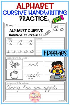 This product has 26 pages of cursive handwriting worksheets. This product will teach children writing the alphabet letters and sentences with cursive style handwriting. This product is great for Kindergarten or first graders. You can use as a classroom activities, morning work, word work and literacy centers. Kindergarten | First Grade |Reading| Writing | Grammar |Handwriting Practice| Cursive Handwriting Practice Literacy Centers | Alphabet Letters |Printables| Morning Work | homework Cursive Handwriting Practice, Handwriting Worksheets, Children Writing, Printable Alphabet Letters, First Grade Reading, Morning Work, Word Work, Literacy Centers, Classroom Activities
