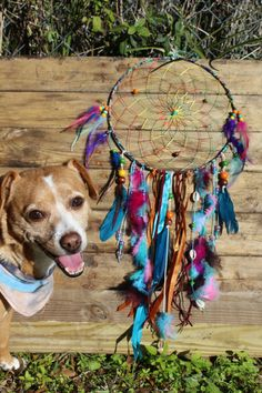 Large Rainbow Dream Catcher by tiedyespirit on Etsy