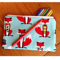 Pencil Case :  Fox fabric, funky fox pencil case / make up bag on Etsy, $13.82