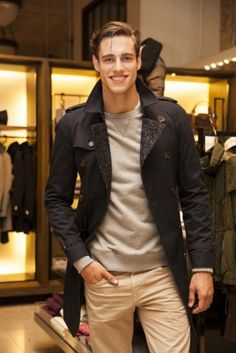 Jordan Stenmark does Burberry chic. I adore this down played trench look - and Jordan's some nice eye candy too!