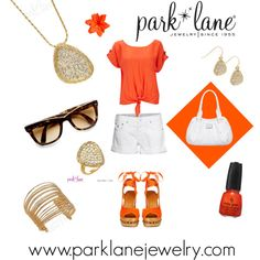 Orange You Glad It's Summer, created by parklanejewelry.polyvore.com  Park Lane Jewelry featured: Boca necklace, pierced earrings & ring and Flair bracelet. Shop online at www.myparklane.com/remartinez.