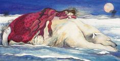 woman in a red dress sleeping soundly on the back of a white bear in a winter landscape while a pink moon shines in the sky.