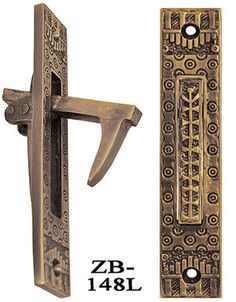 """Windsor Recreated Pocket Door Pull. This is a Lost Wax cast, solid brass finger pull for pocket doors. Available in your choice of """"antique"""" finish, to highlight all the fine casting details in the Windsor design. Large hidden sliding door pull in the beautiful Windsor pattern, a Victorian classic. Faceplate is 5"""" tall x 1"""" wide."""